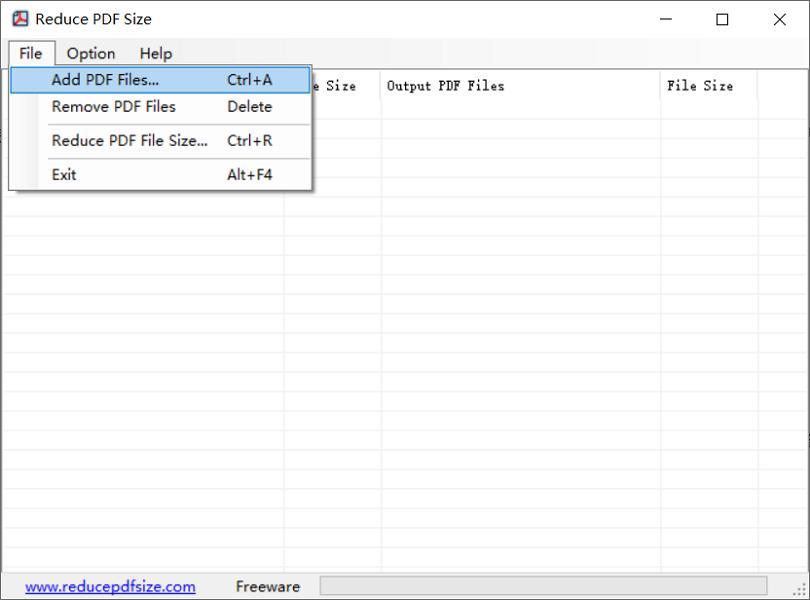 ajouter le fichier PDF dans Reduce PDF Size