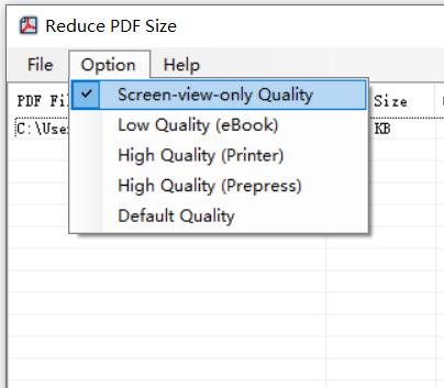 sélectionner la qualité pour le fichier PDF