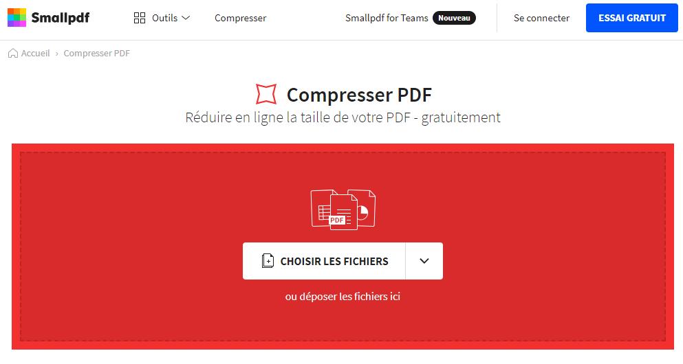 compresser le fichier PDF avec Smallpdf