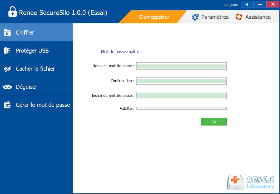 définir le mot de passe maître pour le programme SecureSilo