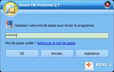 saisir un mot de passe pour lancer Renee File Protector