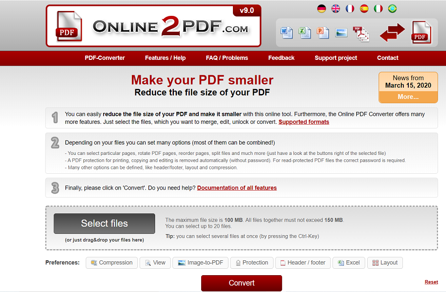 Online2PDF pour compresser un document PDF