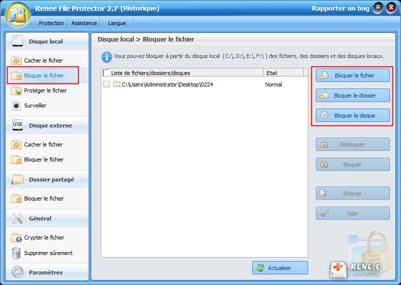 bloquer le fichier PDF à protéger