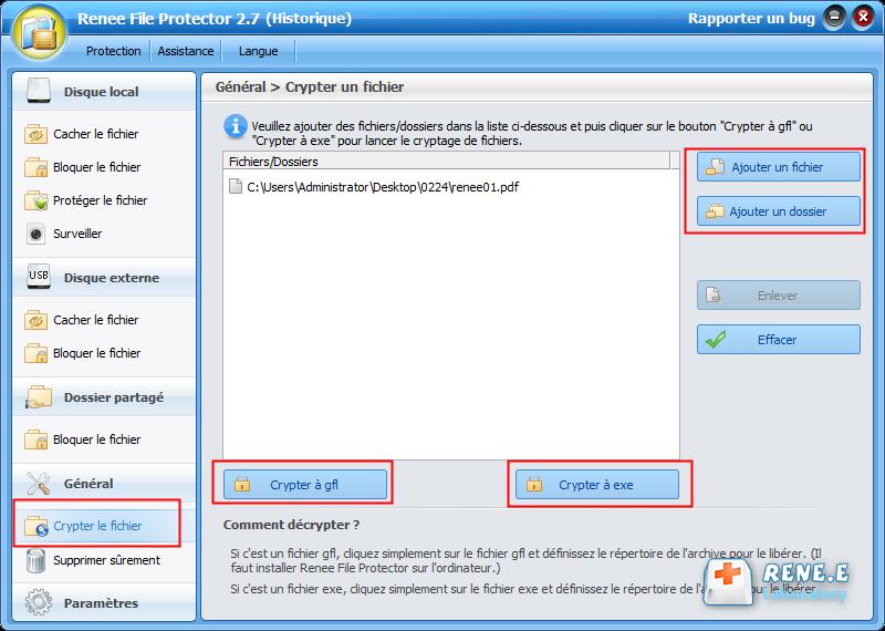 crypter le fichier PDF