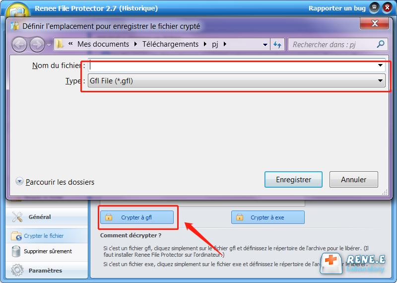 crypter le fichier PDF à GFL