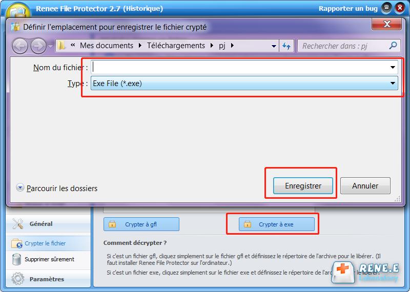 crypter le fichier PDF à exe