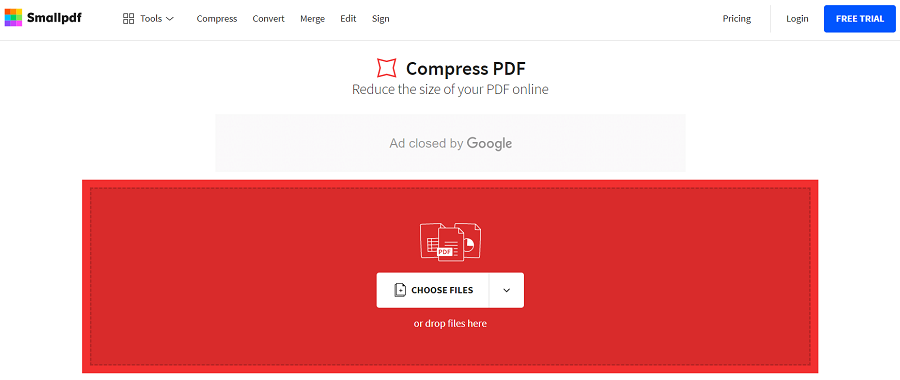 smallpdf pour compresser un document PDF