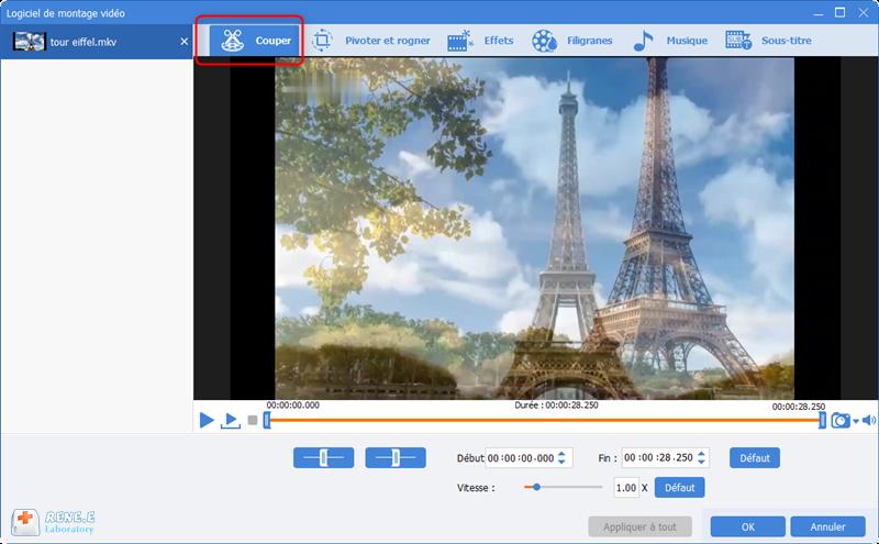 créer une vidéo MKV avec la fonction de coupage