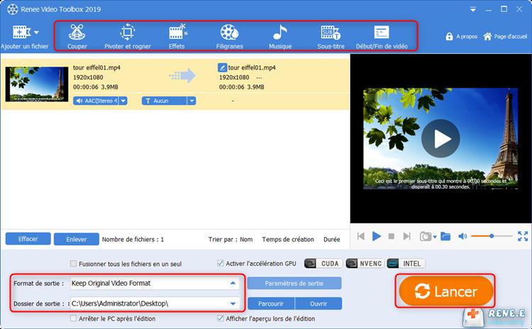 les fonctions de montage vidéo de Renee Video Editor Pro
