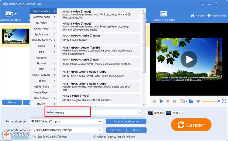 choisir MPEG comme le format de sortie