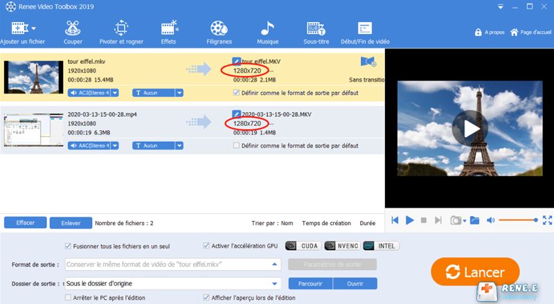 régler la résolution des vidéos fusionnées