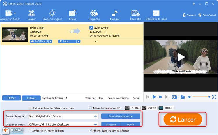 cliquer sur lancer pour sortir la vidéo convertie
