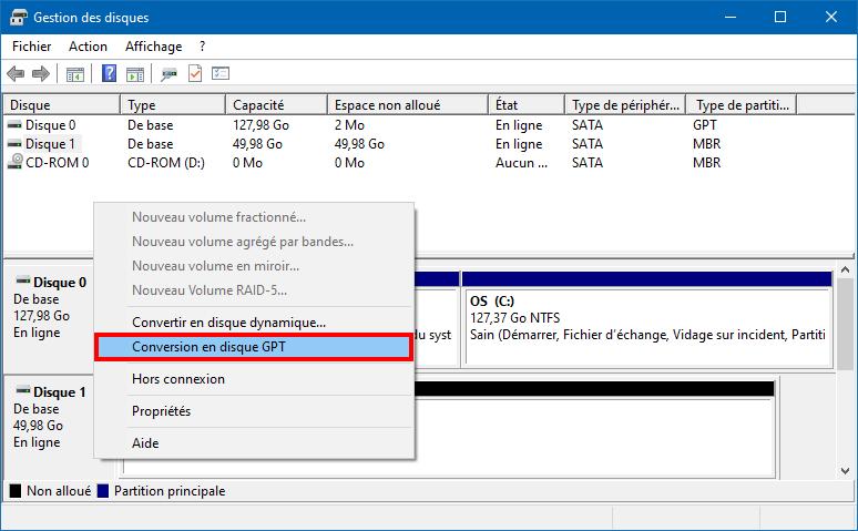 la conversion de disque MBT en GPT