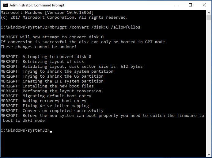 saisir les invites de commandes pour convertir le disque MBR en GPT