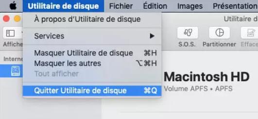 quitter utilitaire de disque sur MacOS