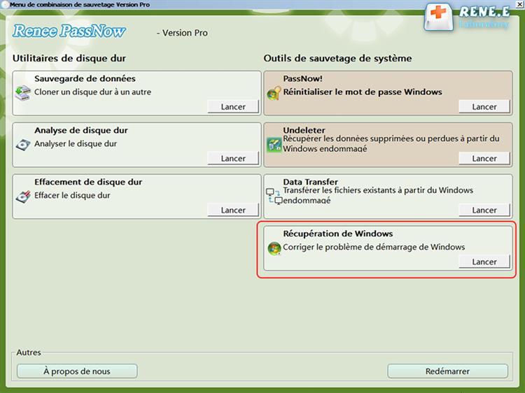 Lancer la fonction Récupération Windows