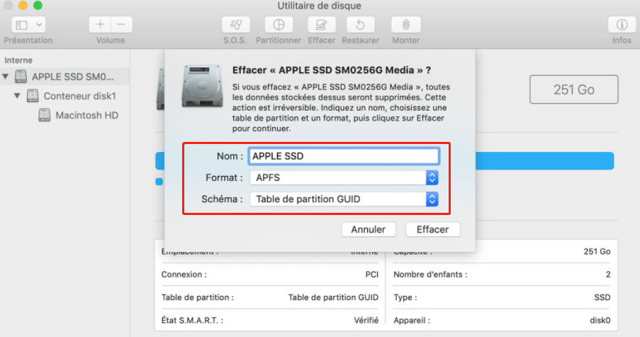 commencer à formater le HDD