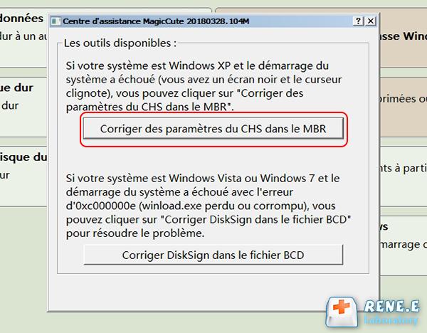 Réparer les paramètres CHS dans MBR
