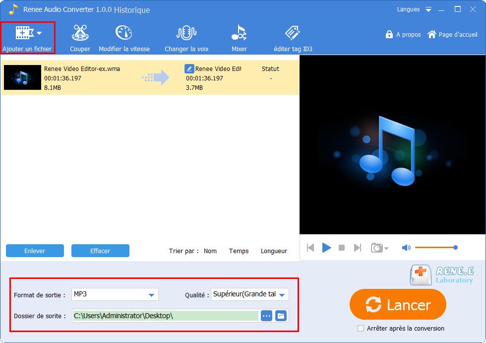 convertir le fichier WMA en MP3