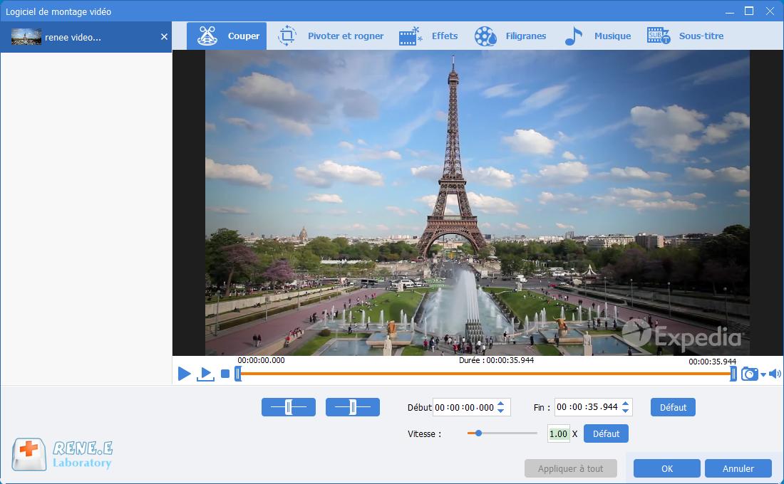fonctionnalité de coupage de Renee Video Editor Pro