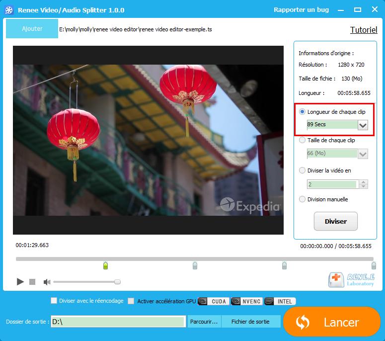 diviser une vidéo en longueur identique avec Renee Video Editor