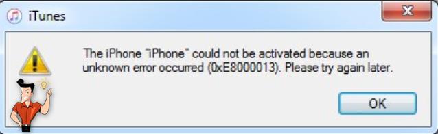 l'erreur d'iTunes 0xe8000013