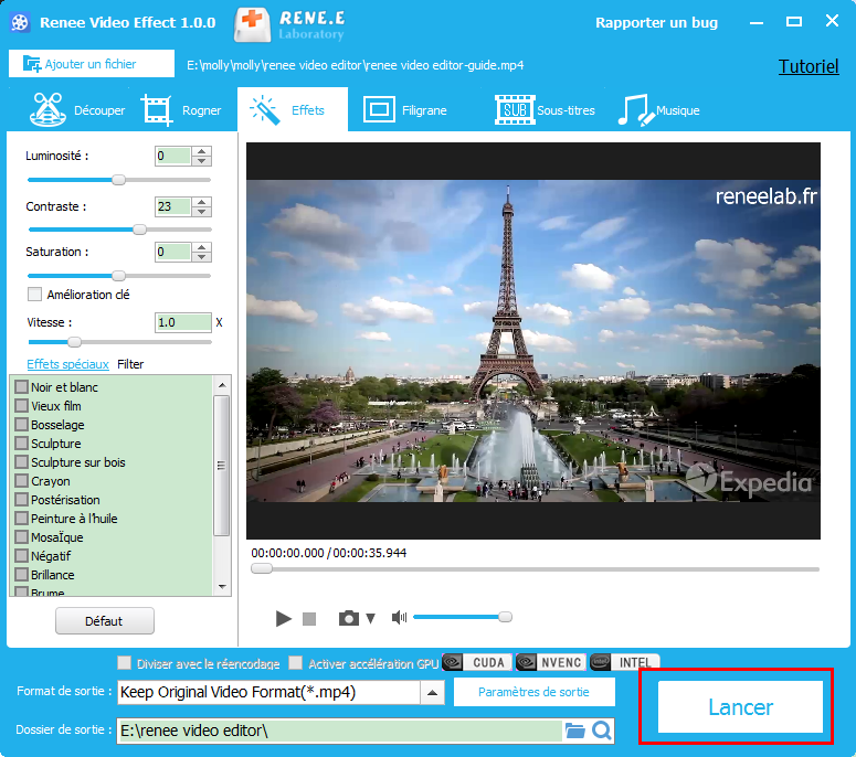 exporter la vidéo avec le changement du contraste