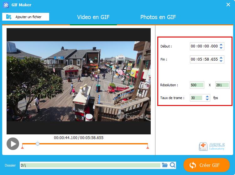 modifier les paramètres du fichier GIF