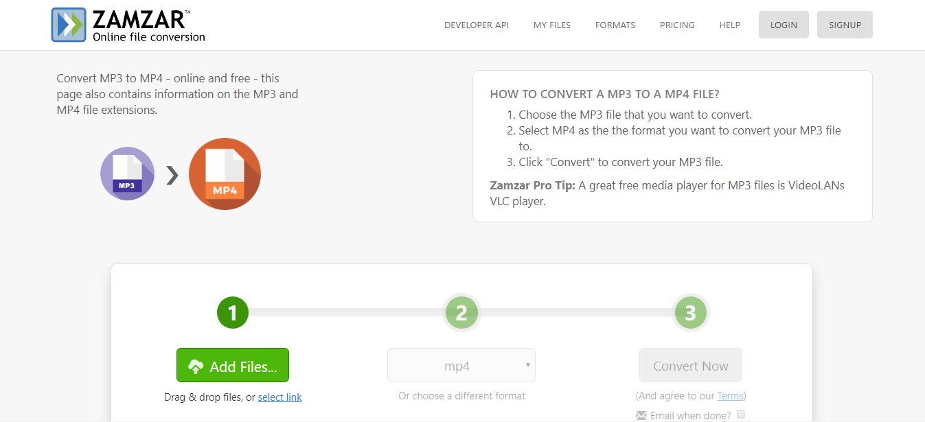 convertir MP3 en MP4 en ligne sur ZAMZAR