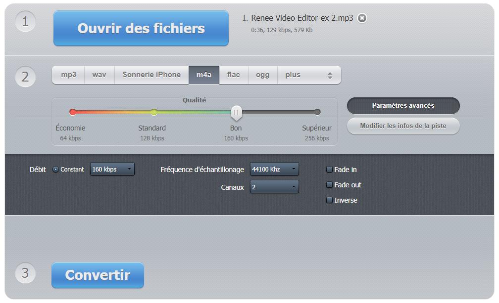 online audio converter pour convertir le fichier MP3