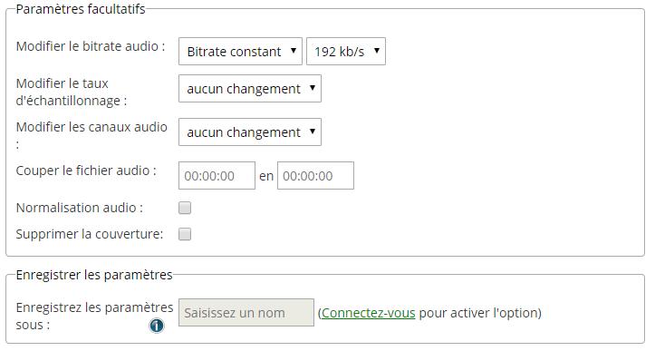 modifier les paramètres online convert