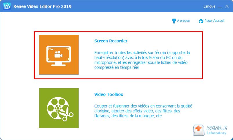 fonctionnalité d'enregistrement de l'écran de Renee Video Editor Pro