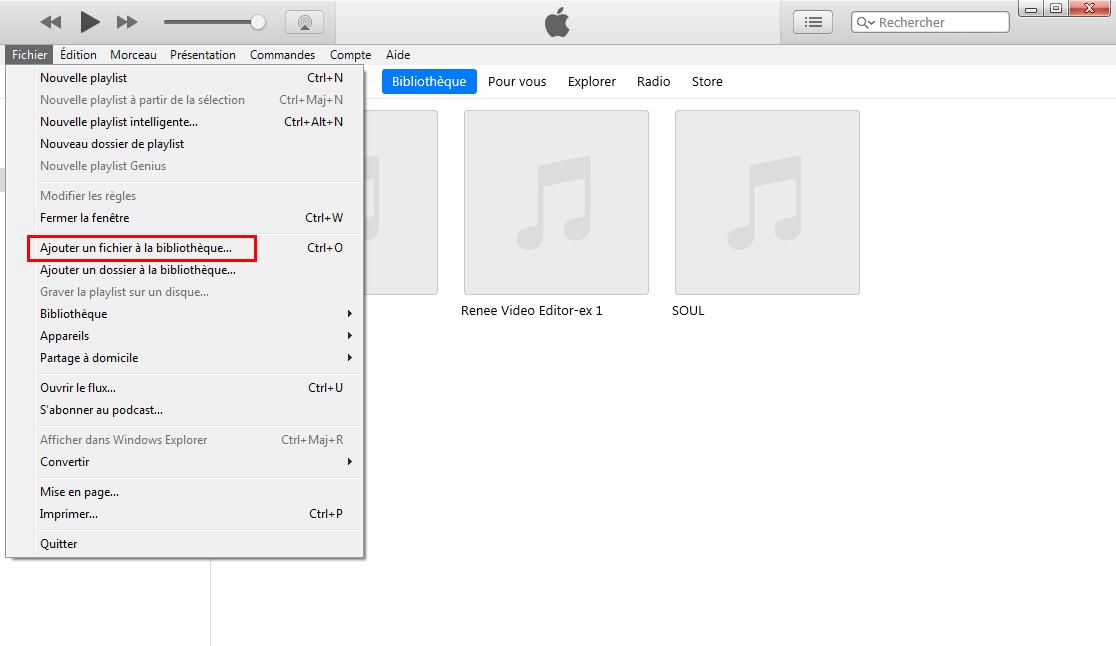 ajouter la musique dans iTunes