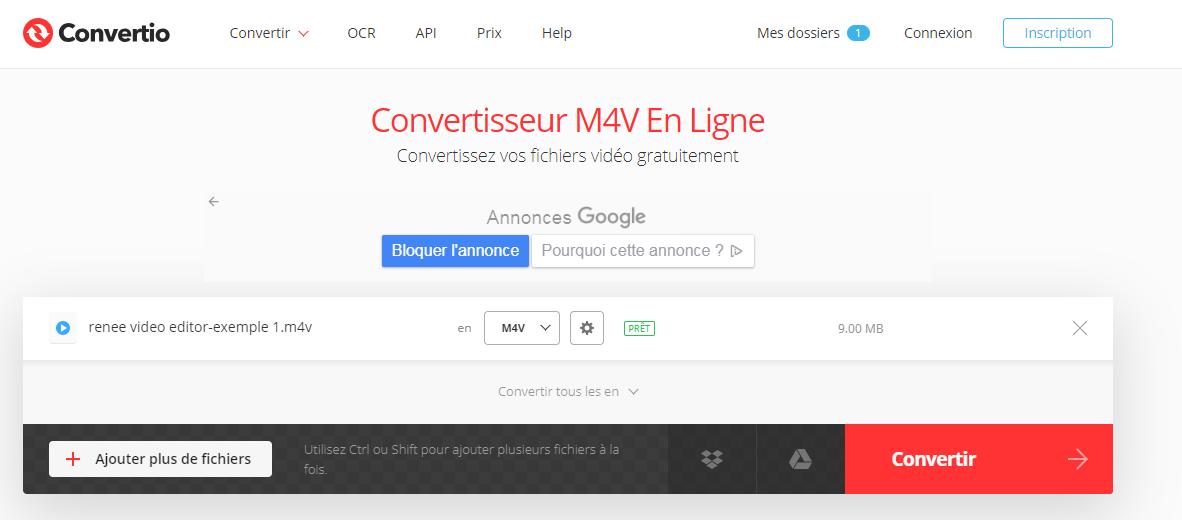 convertir le format M4V sur le site Convertio