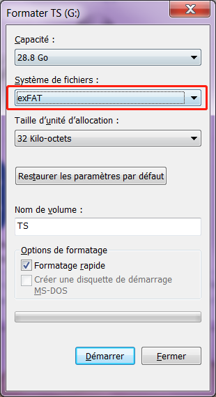 formater le disque au système de fichier exFAT