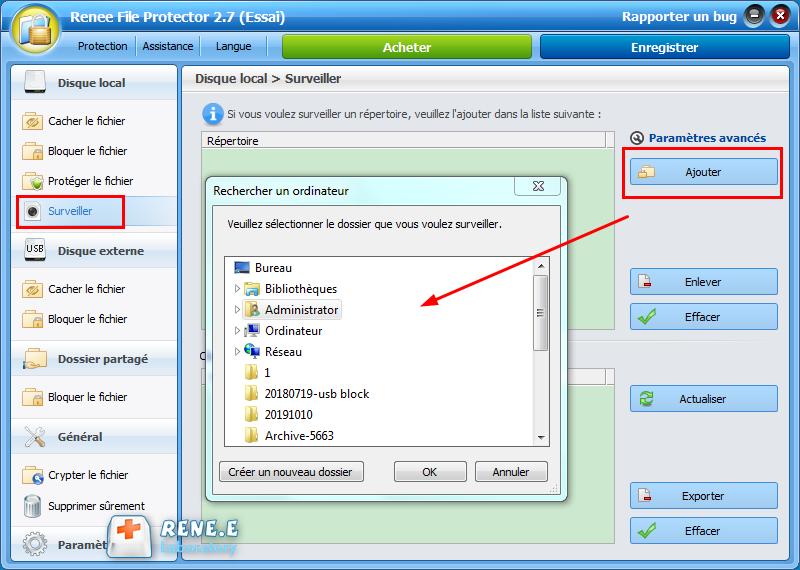 surveiller un fichier avec Renee File Protector