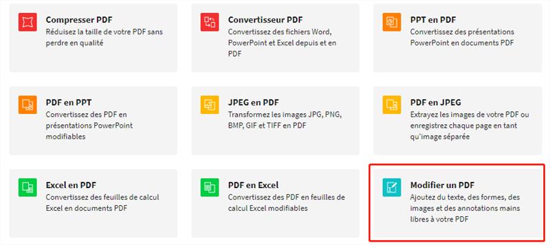 modifier le fichier PDF via Smallpdf