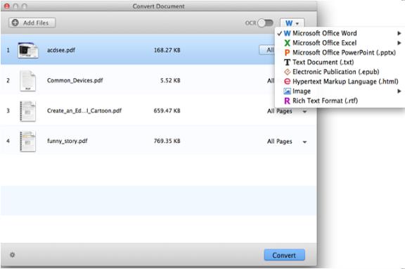 convertir le fichier PDF via PDF Converter for Mac