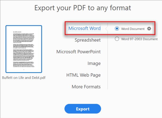 convertir le fichier PDF en Word sur le Mac