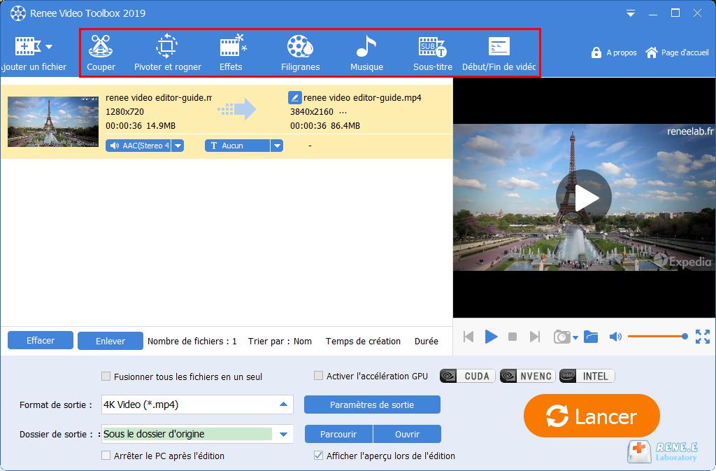 fonctions de montage vidéo de Renee Video Editor Pro