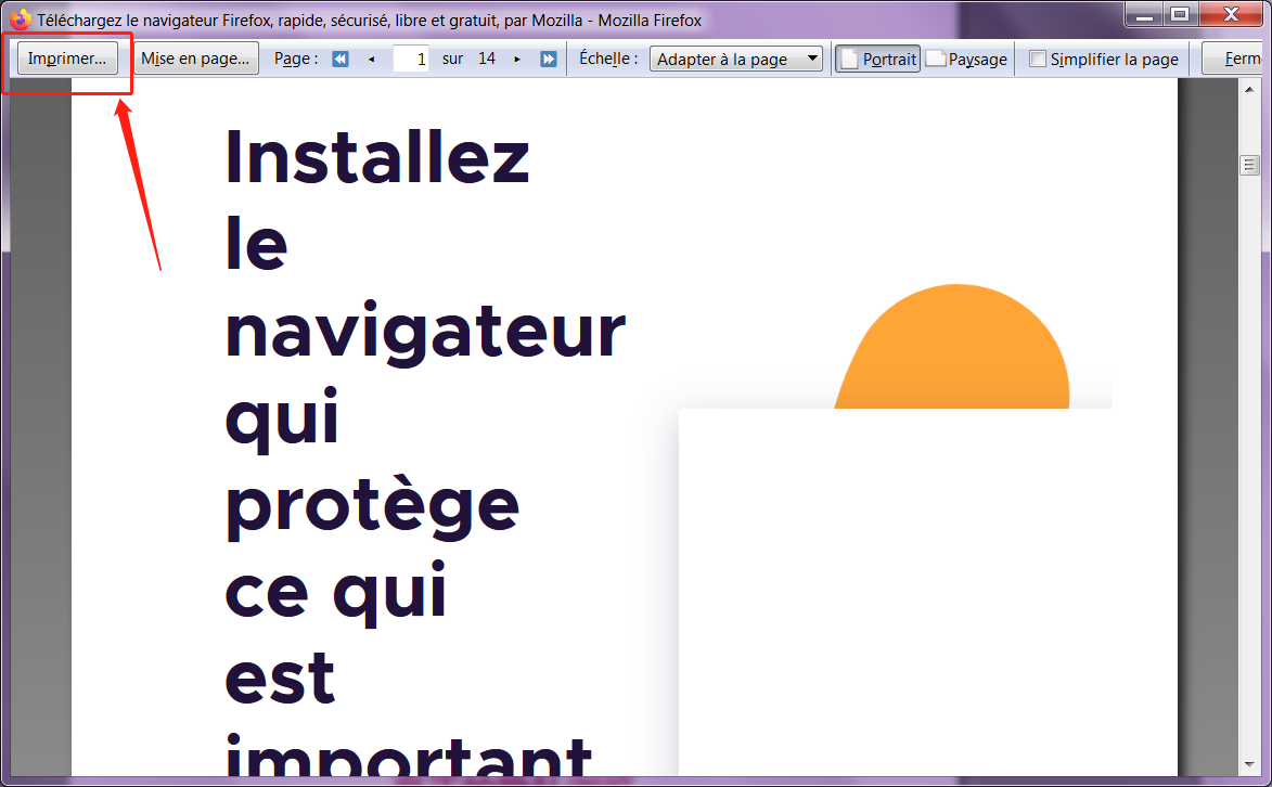 imprimer le page Firefox