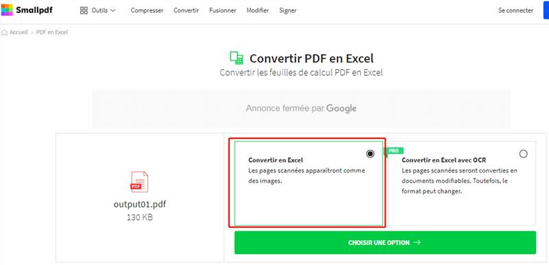 convertir pdf en excel via Smallpdf