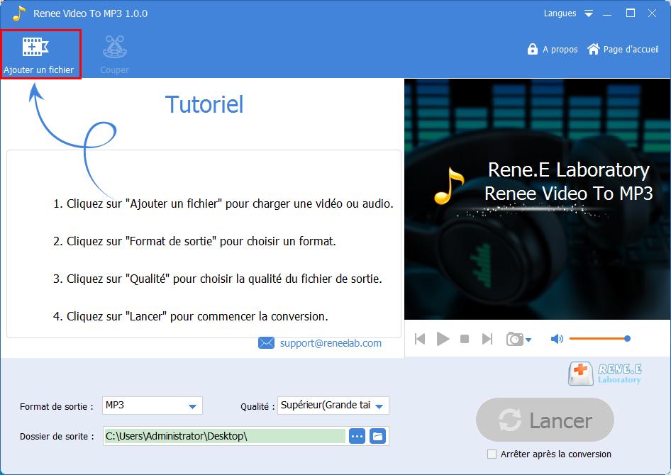 ajouter un fichier dans Renee Audio Tools