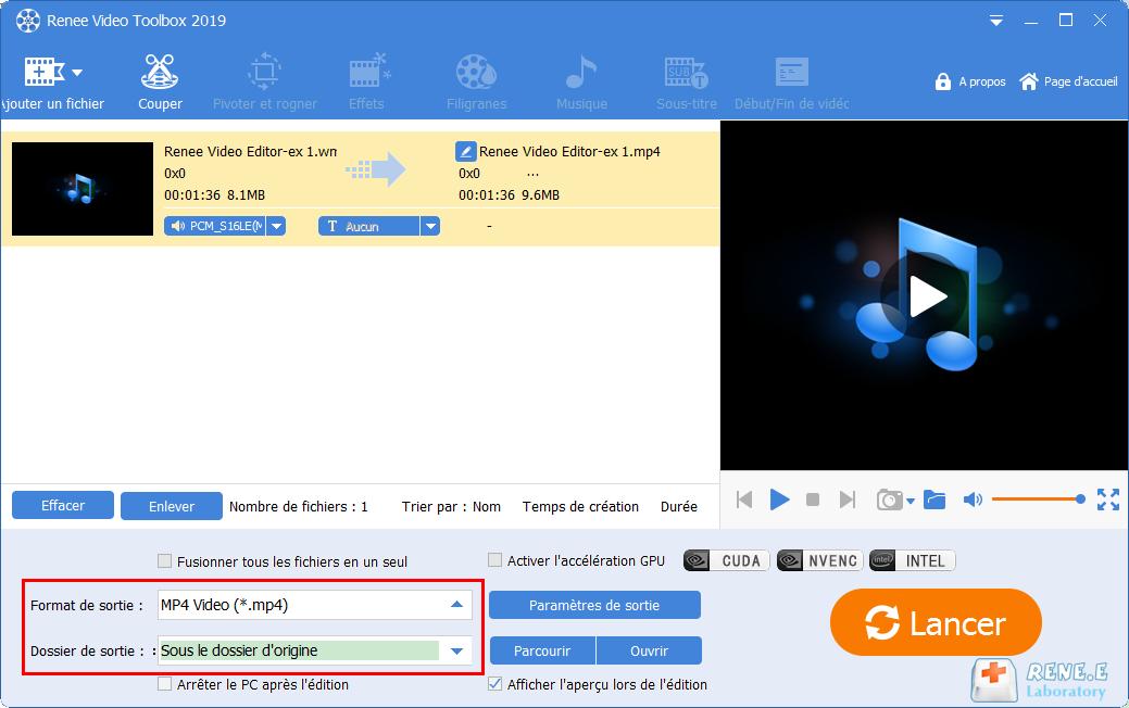 convertir WMA en MP4 avec Renee Video Editor Pro