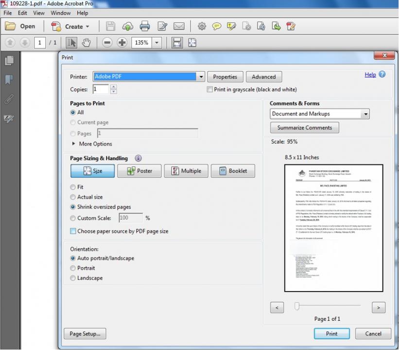 imprimer le fichier PDF avec l'imprimante Adobe Acrobat