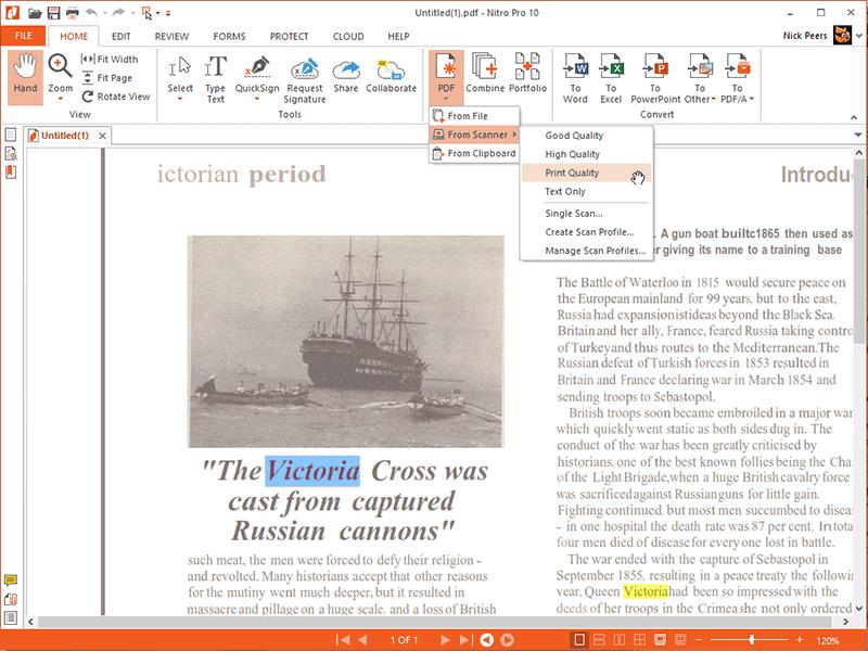 imprimante nitro PDF pour imprimer le fichier PDF