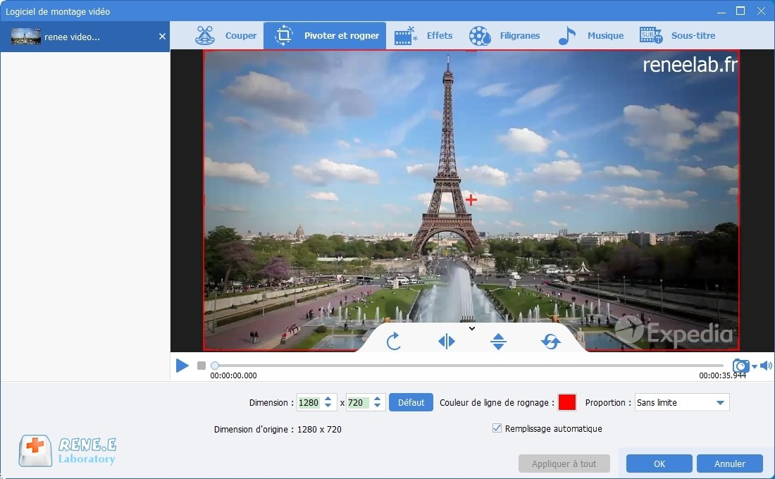 pivoter une vidéo avec Renee Video Editor Pro