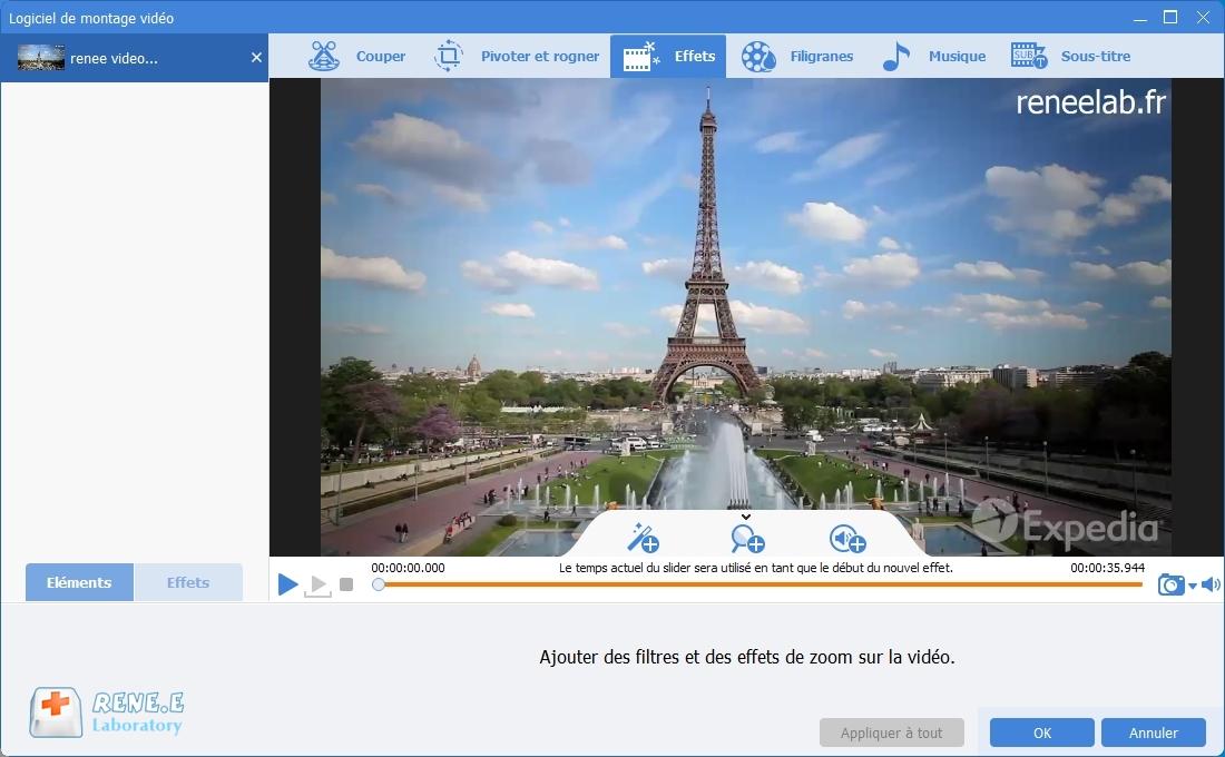 ajouter des effets dans une vidéo avec Renee Video Editor Pro