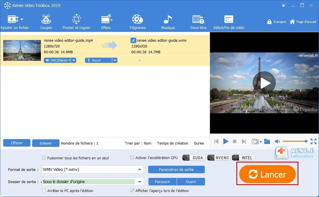 exporter la vidéo modifiée avec Renee Video Editor Pro