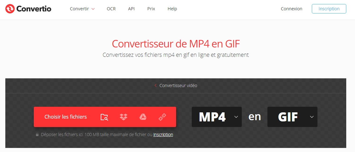 convertir MP4 en GIF sur le site Convertio